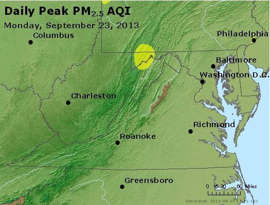 Peak Particles PM<sub>2.5</sub> (24-hour) - https://files.airnowtech.org/airnow/2013/20130923/peak_pm25_va_wv_md_de_dc.jpg