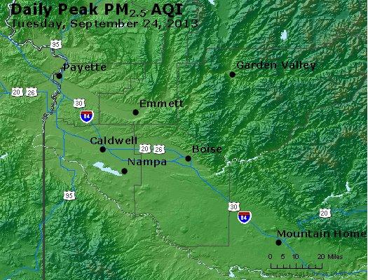 Peak Particles PM<sub>2.5</sub> (24-hour) - https://files.airnowtech.org/airnow/2013/20130924/peak_pm25_boise_id.jpg