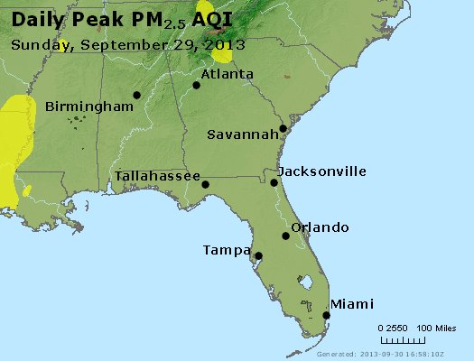 Peak Particles PM<sub>2.5</sub> (24-hour) - https://files.airnowtech.org/airnow/2013/20130929/peak_pm25_al_ga_fl.jpg