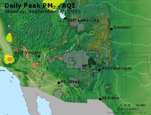 Peak Particles PM<sub>2.5</sub> (24-hour) - https://files.airnowtech.org/airnow/2013/20130930/peak_pm25_co_ut_az_nm.jpg