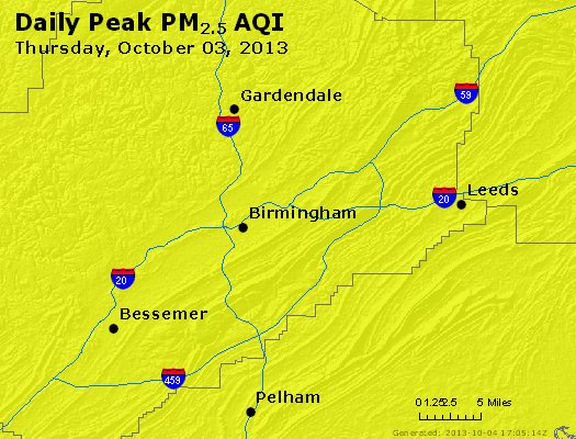 Peak Particles PM<sub>2.5</sub> (24-hour) - https://files.airnowtech.org/airnow/2013/20131003/peak_pm25_birmingham_al.jpg