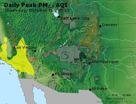 Peak Particles PM<sub>2.5</sub> (24-hour) - https://files.airnowtech.org/airnow/2013/20131003/peak_pm25_co_ut_az_nm.jpg