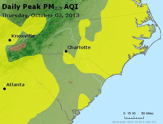 Peak Particles PM<sub>2.5</sub> (24-hour) - https://files.airnowtech.org/airnow/2013/20131003/peak_pm25_nc_sc.jpg