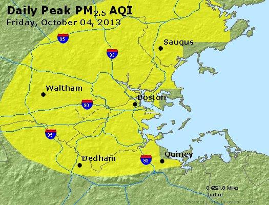 Peak Particles PM<sub>2.5</sub> (24-hour) - https://files.airnowtech.org/airnow/2013/20131004/peak_pm25_boston_ma.jpg
