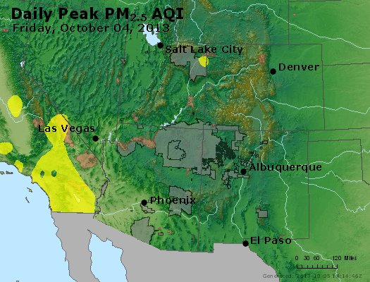 Peak Particles PM<sub>2.5</sub> (24-hour) - https://files.airnowtech.org/airnow/2013/20131004/peak_pm25_co_ut_az_nm.jpg
