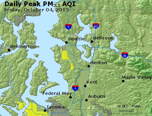 Peak Particles PM<sub>2.5</sub> (24-hour) - https://files.airnowtech.org/airnow/2013/20131004/peak_pm25_seattle_wa.jpg