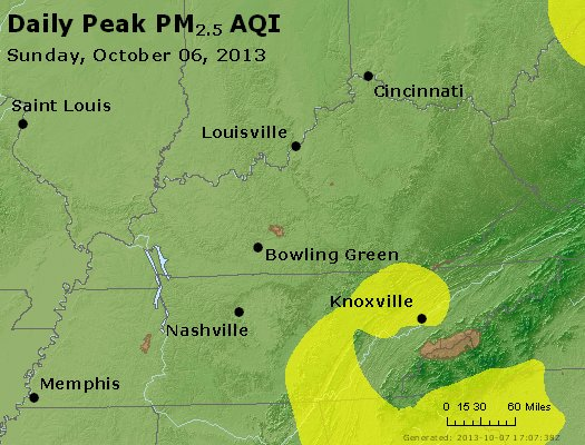 Peak Particles PM<sub>2.5</sub> (24-hour) - https://files.airnowtech.org/airnow/2013/20131006/peak_pm25_ky_tn.jpg