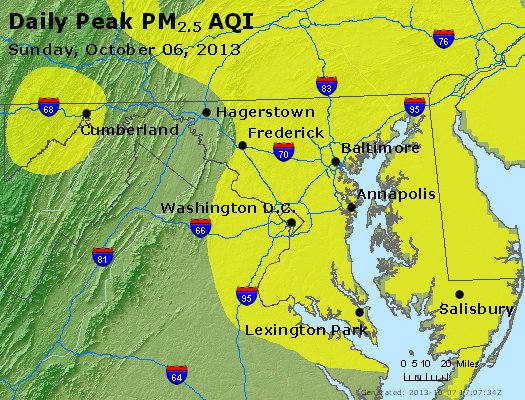 Peak Particles PM<sub>2.5</sub> (24-hour) - https://files.airnowtech.org/airnow/2013/20131006/peak_pm25_maryland.jpg