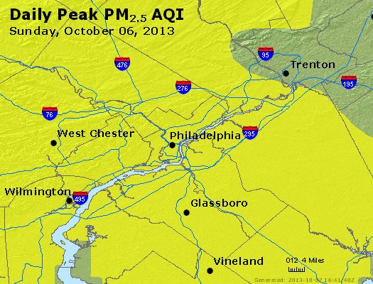 Peak Particles PM<sub>2.5</sub> (24-hour) - https://files.airnowtech.org/airnow/2013/20131006/peak_pm25_philadelphia_pa.jpg