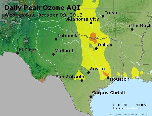 Peak Ozone (8-hour) - https://files.airnowtech.org/airnow/2013/20131009/peak_o3_tx_ok.jpg