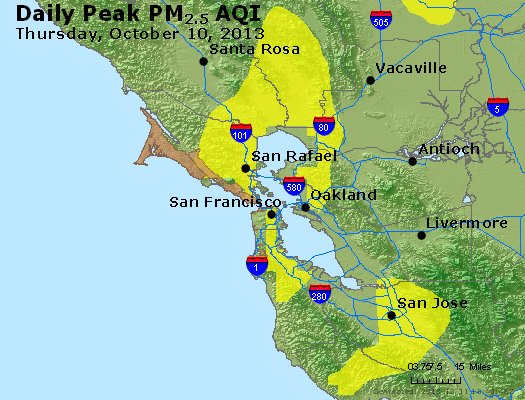 Peak Particles PM<sub>2.5</sub> (24-hour) - https://files.airnowtech.org/airnow/2013/20131010/peak_pm25_sanfrancisco_ca.jpg