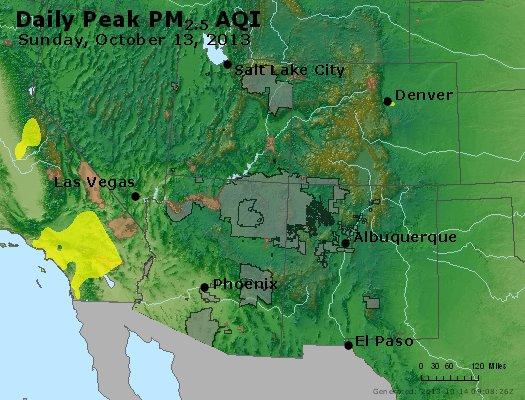 Peak Particles PM<sub>2.5</sub> (24-hour) - https://files.airnowtech.org/airnow/2013/20131013/peak_pm25_co_ut_az_nm.jpg