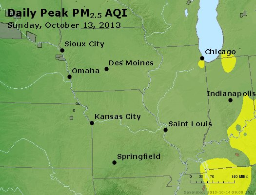 Peak Particles PM<sub>2.5</sub> (24-hour) - https://files.airnowtech.org/airnow/2013/20131013/peak_pm25_ia_il_mo.jpg