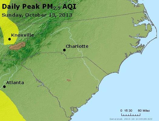 Peak Particles PM2.5 (24-hour) - https://files.airnowtech.org/airnow/2013/20131013/peak_pm25_nc_sc.jpg
