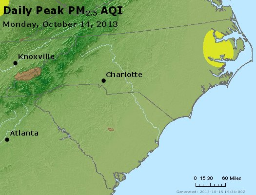 Peak Particles PM2.5 (24-hour) - https://files.airnowtech.org/airnow/2013/20131014/peak_pm25_nc_sc.jpg