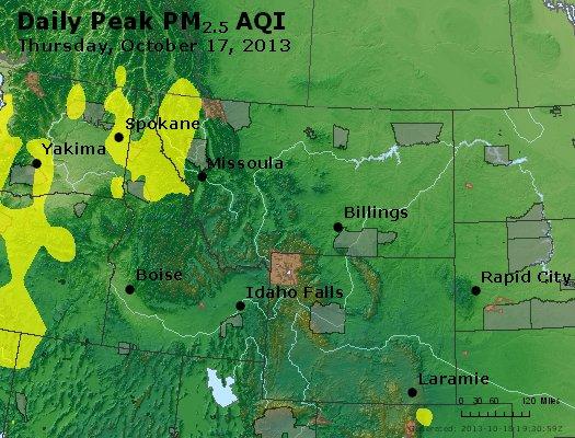 Peak Particles PM<sub>2.5</sub> (24-hour) - https://files.airnowtech.org/airnow/2013/20131017/peak_pm25_mt_id_wy.jpg