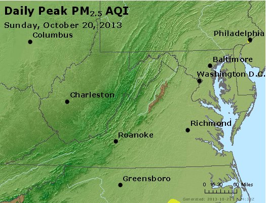Peak Particles PM<sub>2.5</sub> (24-hour) - https://files.airnowtech.org/airnow/2013/20131020/peak_pm25_va_wv_md_de_dc.jpg
