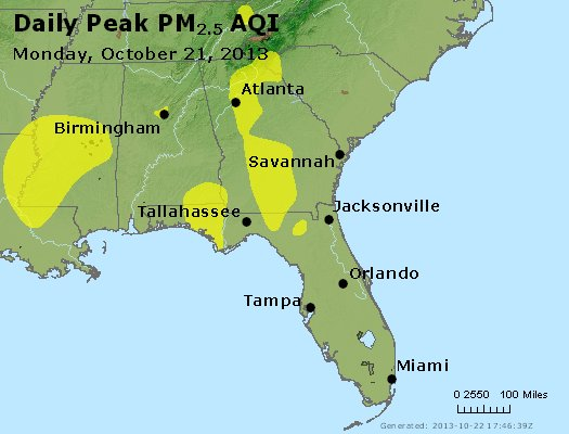 Peak Particles PM<sub>2.5</sub> (24-hour) - https://files.airnowtech.org/airnow/2013/20131021/peak_pm25_al_ga_fl.jpg
