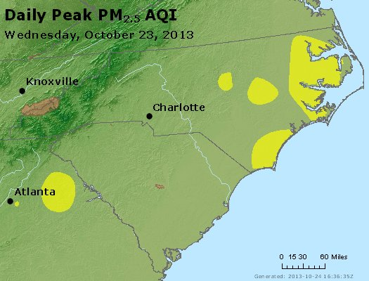 Peak Particles PM<sub>2.5</sub> (24-hour) - https://files.airnowtech.org/airnow/2013/20131023/peak_pm25_nc_sc.jpg