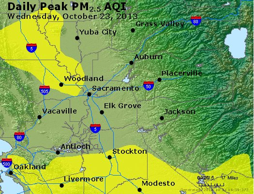 Peak Particles PM<sub>2.5</sub> (24-hour) - https://files.airnowtech.org/airnow/2013/20131023/peak_pm25_sacramento_ca.jpg