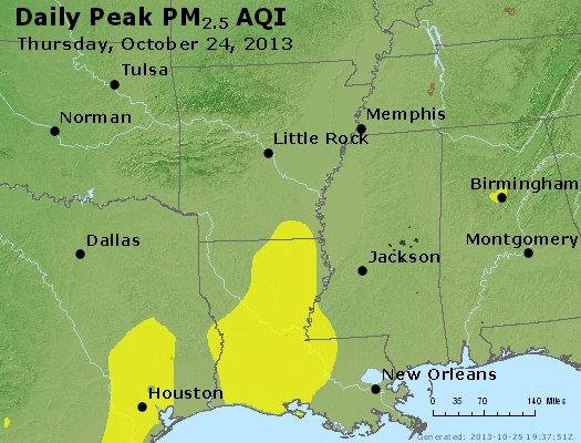 Peak Particles PM2.5 (24-hour) - https://files.airnowtech.org/airnow/2013/20131024/peak_pm25_ar_la_ms.jpg