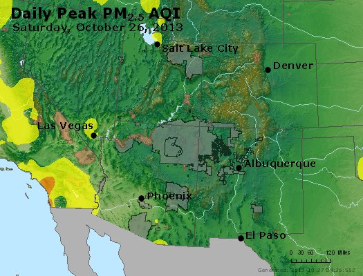 Peak Particles PM<sub>2.5</sub> (24-hour) - https://files.airnowtech.org/airnow/2013/20131026/peak_pm25_co_ut_az_nm.jpg