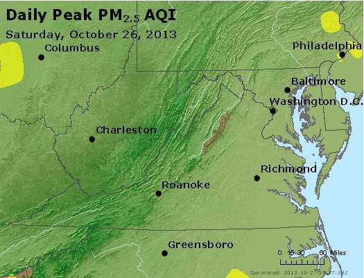 Peak Particles PM<sub>2.5</sub> (24-hour) - https://files.airnowtech.org/airnow/2013/20131026/peak_pm25_va_wv_md_de_dc.jpg