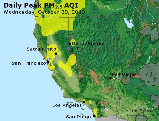 Peak Particles PM<sub>2.5</sub> (24-hour) - https://files.airnowtech.org/airnow/2013/20131030/peak_pm25_ca_nv.jpg