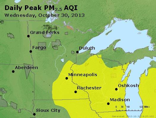 Peak Particles PM<sub>2.5</sub> (24-hour) - https://files.airnowtech.org/airnow/2013/20131030/peak_pm25_mn_wi.jpg
