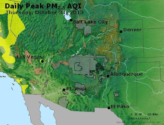 Peak Particles PM2.5 (24-hour) - https://files.airnowtech.org/airnow/2013/20131031/peak_pm25_co_ut_az_nm.jpg