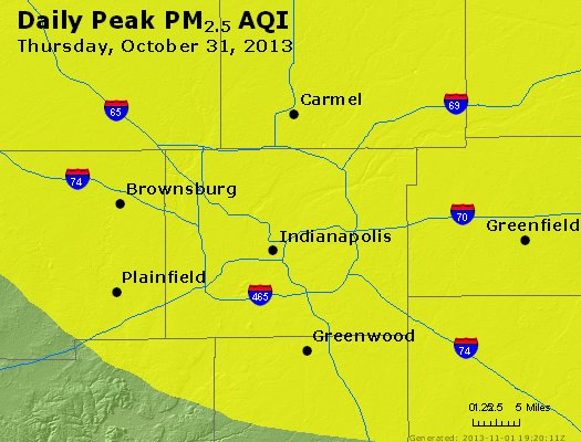 Peak Particles PM<sub>2.5</sub> (24-hour) - https://files.airnowtech.org/airnow/2013/20131031/peak_pm25_indianapolis_in.jpg