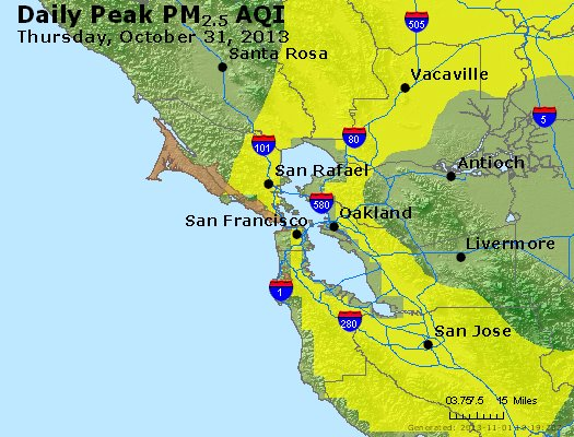 Peak Particles PM<sub>2.5</sub> (24-hour) - https://files.airnowtech.org/airnow/2013/20131031/peak_pm25_sanfrancisco_ca.jpg