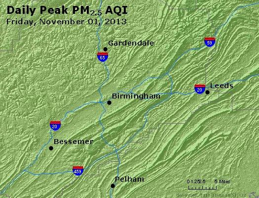 Peak Particles PM<sub>2.5</sub> (24-hour) - https://files.airnowtech.org/airnow/2013/20131102/peak_pm25_birmingham_al.jpg