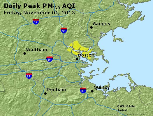 Peak Particles PM<sub>2.5</sub> (24-hour) - https://files.airnowtech.org/airnow/2013/20131102/peak_pm25_boston_ma.jpg