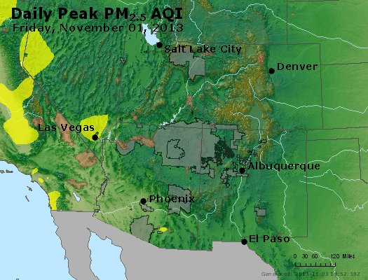 Peak Particles PM<sub>2.5</sub> (24-hour) - https://files.airnowtech.org/airnow/2013/20131102/peak_pm25_co_ut_az_nm.jpg