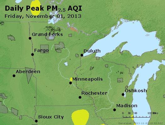 Peak Particles PM2.5 (24-hour) - https://files.airnowtech.org/airnow/2013/20131102/peak_pm25_mn_wi.jpg