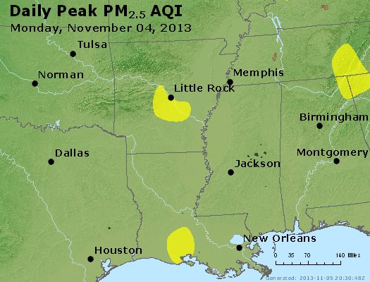 Peak Particles PM<sub>2.5</sub> (24-hour) - https://files.airnowtech.org/airnow/2013/20131104/peak_pm25_ar_la_ms.jpg