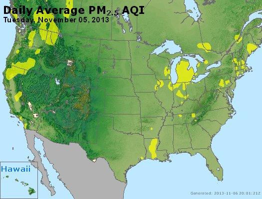Peak Particles PM<sub>2.5</sub> (24-hour) - https://files.airnowtech.org/airnow/2013/20131105/peak_pm25_usa.jpg