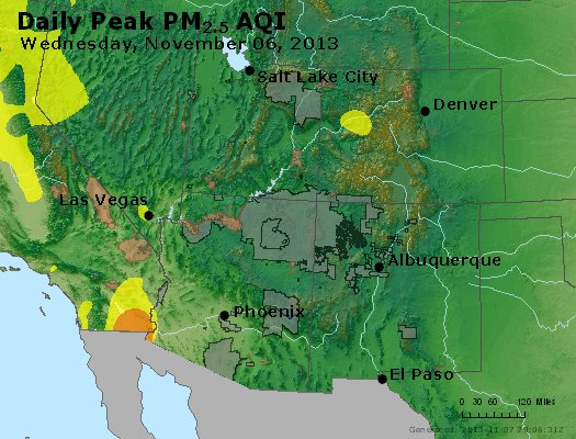 Peak Particles PM<sub>2.5</sub> (24-hour) - https://files.airnowtech.org/airnow/2013/20131106/peak_pm25_co_ut_az_nm.jpg