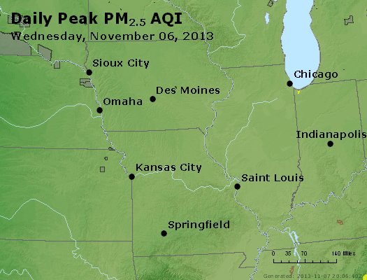 Peak Particles PM<sub>2.5</sub> (24-hour) - https://files.airnowtech.org/airnow/2013/20131106/peak_pm25_ia_il_mo.jpg