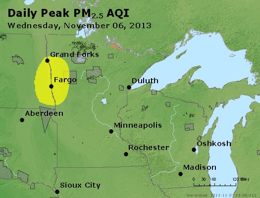 Peak Particles PM<sub>2.5</sub> (24-hour) - https://files.airnowtech.org/airnow/2013/20131106/peak_pm25_mn_wi.jpg