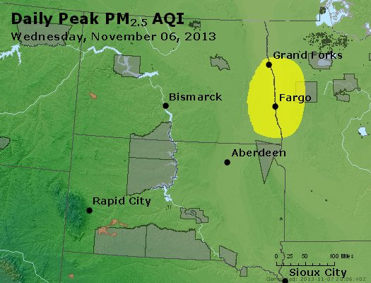 Peak Particles PM<sub>2.5</sub> (24-hour) - https://files.airnowtech.org/airnow/2013/20131106/peak_pm25_nd_sd.jpg