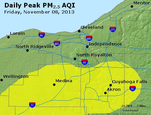 Peak Particles PM<sub>2.5</sub> (24-hour) - https://files.airnowtech.org/airnow/2013/20131108/peak_pm25_cleveland_oh.jpg