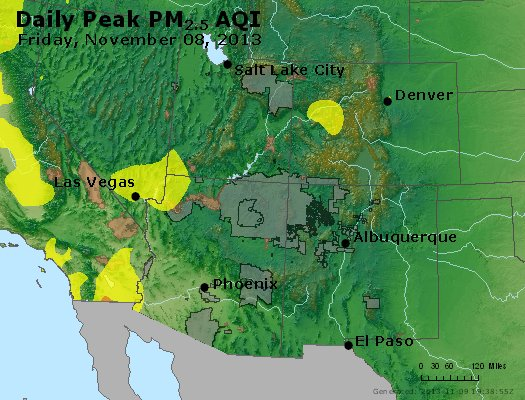 Peak Particles PM<sub>2.5</sub> (24-hour) - https://files.airnowtech.org/airnow/2013/20131108/peak_pm25_co_ut_az_nm.jpg