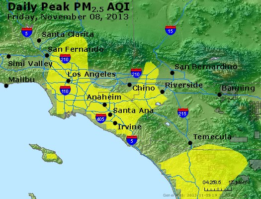 Peak Particles PM<sub>2.5</sub> (24-hour) - https://files.airnowtech.org/airnow/2013/20131108/peak_pm25_losangeles_ca.jpg
