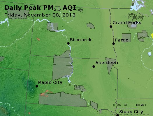 Peak Particles PM<sub>2.5</sub> (24-hour) - https://files.airnowtech.org/airnow/2013/20131108/peak_pm25_nd_sd.jpg
