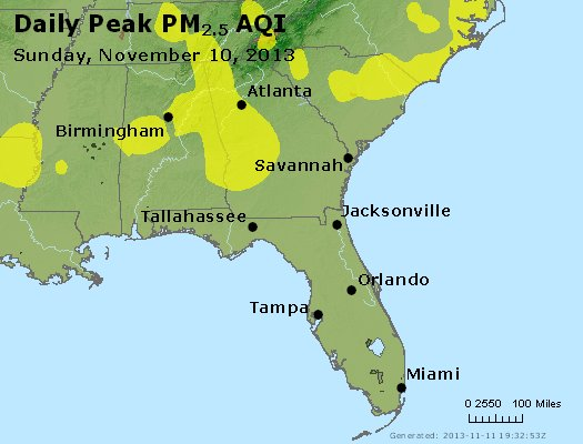 Peak Particles PM<sub>2.5</sub> (24-hour) - https://files.airnowtech.org/airnow/2013/20131110/peak_pm25_al_ga_fl.jpg
