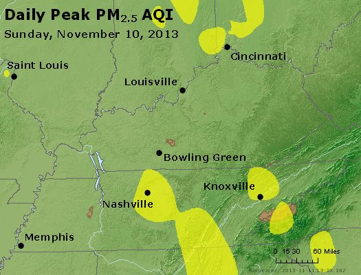 Peak Particles PM<sub>2.5</sub> (24-hour) - https://files.airnowtech.org/airnow/2013/20131110/peak_pm25_ky_tn.jpg