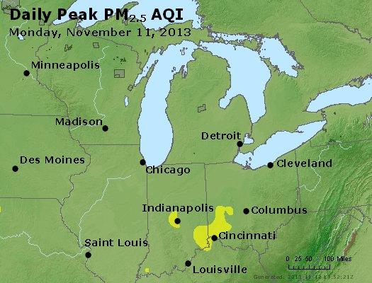 Peak Particles PM<sub>2.5</sub> (24-hour) - https://files.airnowtech.org/airnow/2013/20131111/peak_pm25_mi_in_oh.jpg