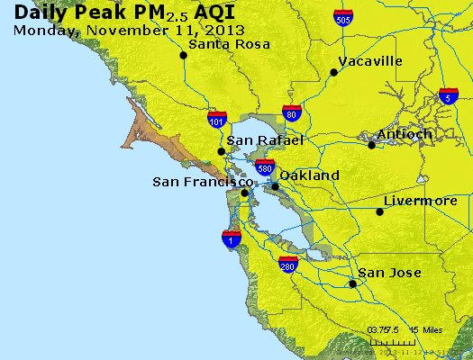 Peak Particles PM<sub>2.5</sub> (24-hour) - https://files.airnowtech.org/airnow/2013/20131111/peak_pm25_sanfrancisco_ca.jpg